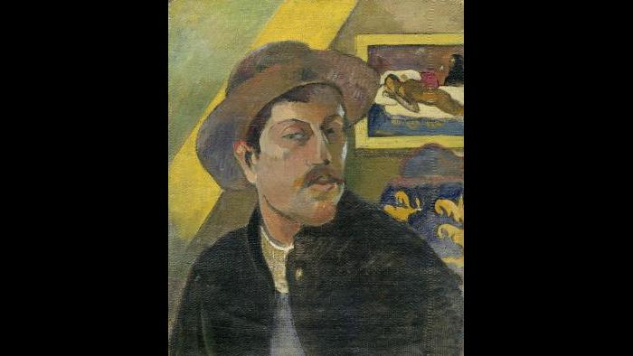 Paul Gauguin. Self-Portrait with Hat, winter 1893–94. Musée d'Orsay, Paris, acquired with the participation of an anonymous Canadian donation, 1966.