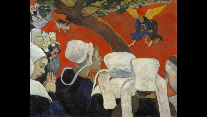 Paul Gauguin. Vision of the Sermon (Jacob Wrestling with the Angel), 1888. Scottish National Gallery, Edinburgh.