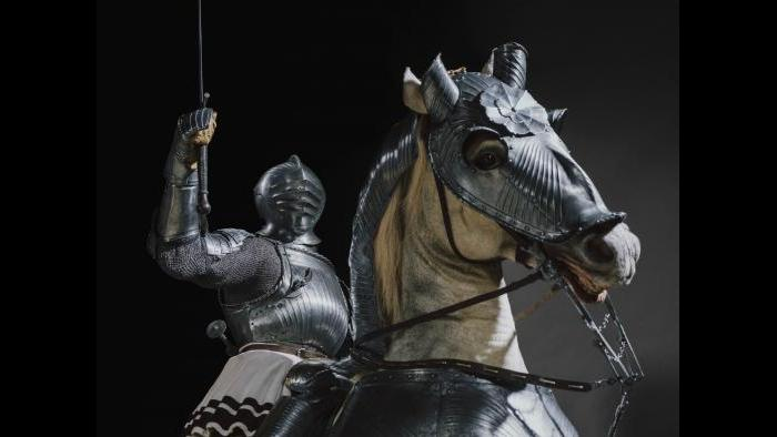 """""""Armor for Man and Horse,"""" about 1520 with modern costume. South German, Nuremberg. The Art Institute of Chicago, George F. Harding Collection."""