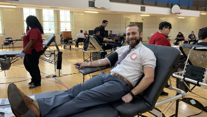 A National Honors Society advisor gives blood during the blood drive organized by Chasity Kasir. (Photo courtesy Chasity Kasir)