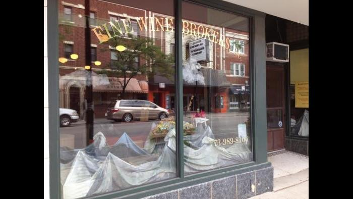 Front window at Fine Wine Brokers (Rebecca Palmore / Chicago Tonight)
