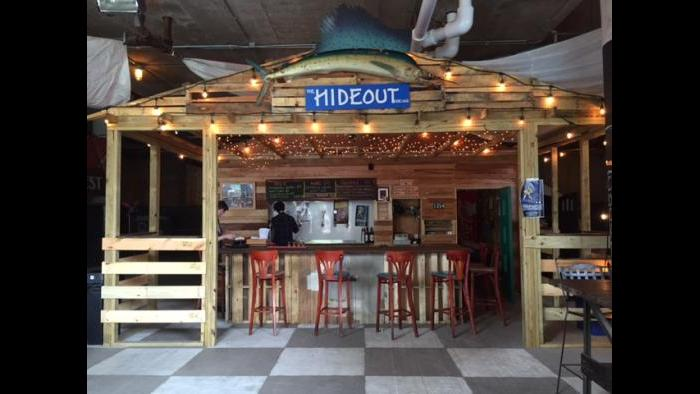 Indoor bar at the Hideout Riverwalk is reminiscent of the original. (Rebecca Palmore / Chicago Tonight)