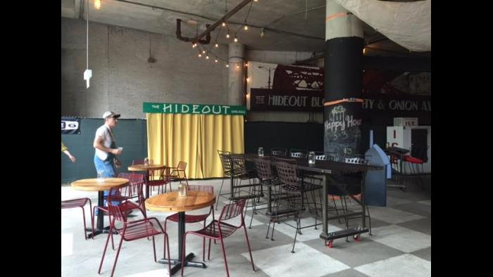 Interior of the Hideout Riverwalk. (Rebecca Palmore / Chicago Tonight)