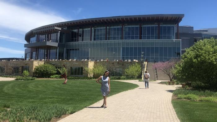 Chasity Kasir outside Epic Systems campus in Wisconsin. (Photo courtesy Chasity Kasir)