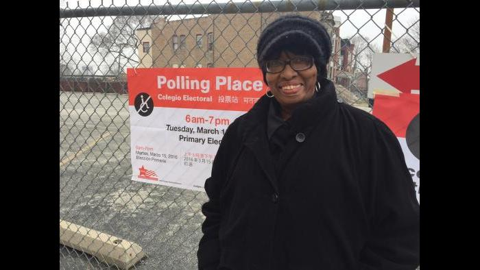 Corrine Grant outside her polling place in Washington Park on Tuesday. (Eddie Arruza)