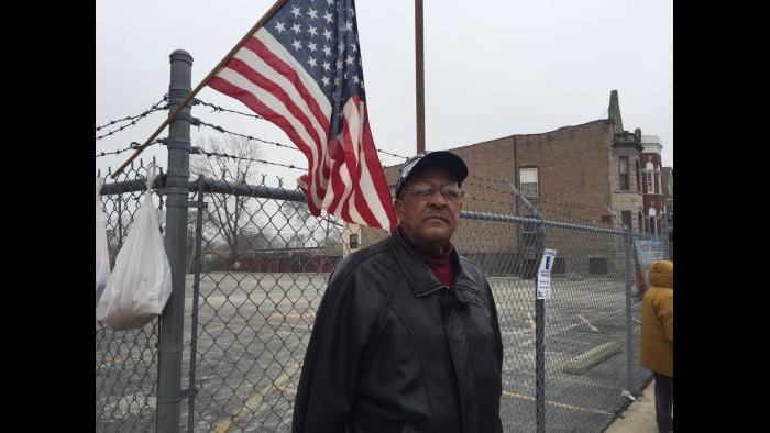Murray T. Johnson, Sr. at the 12th Precinct polling place in Washington Park on Tuesday. (Eddie Arruza)