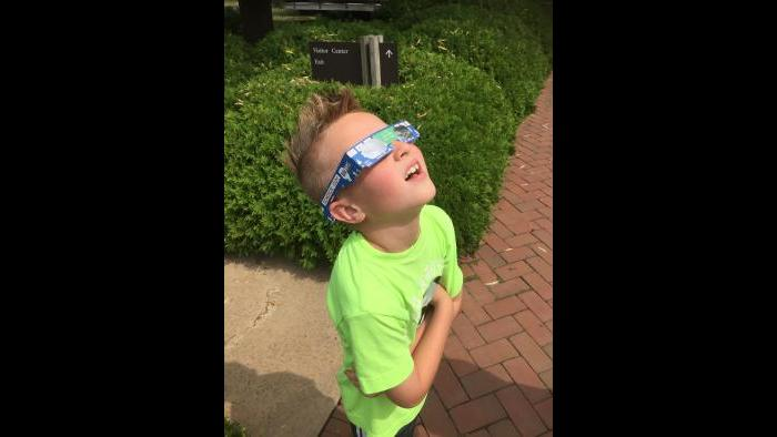 Watching the eclipse at the Chicago Botanic Garden (Submitted by: Cathy Costello)