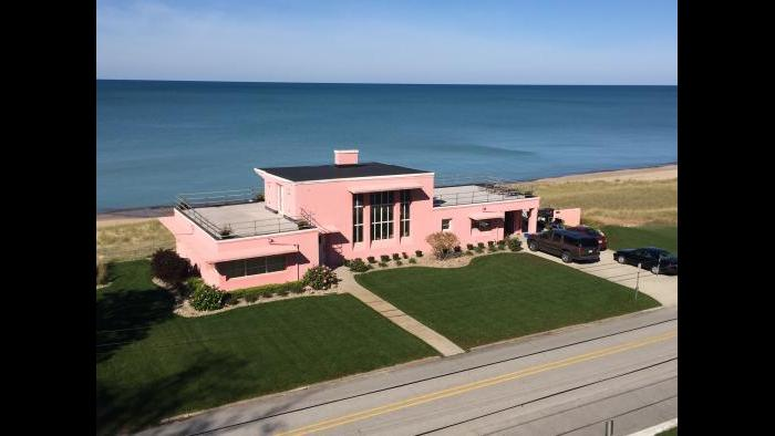 The Paist and Steward-designed Florida Tropical Home from Century of Progress 1933 after restoration at Beverly Shores, Indiana. (Eddie Arruza / Chicago Tonight)