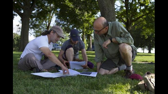 Planning for our paddle along the Calumet River. (Luke Brodarick / Chicago Tonight)