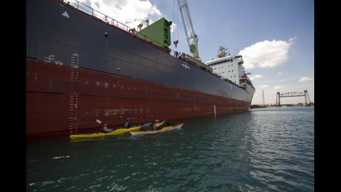 An ocean-going freighter in the Calumet River. (Luke Brodarick / Chicago Tonight)