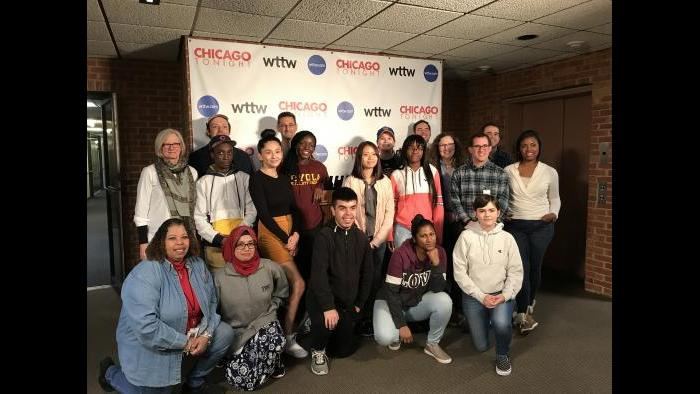 """Journalism students from Senn High School pose with members of """"Chicago Tonight"""" at WTTW in October 2018. (Courtesy of Michael Cullinane)"""