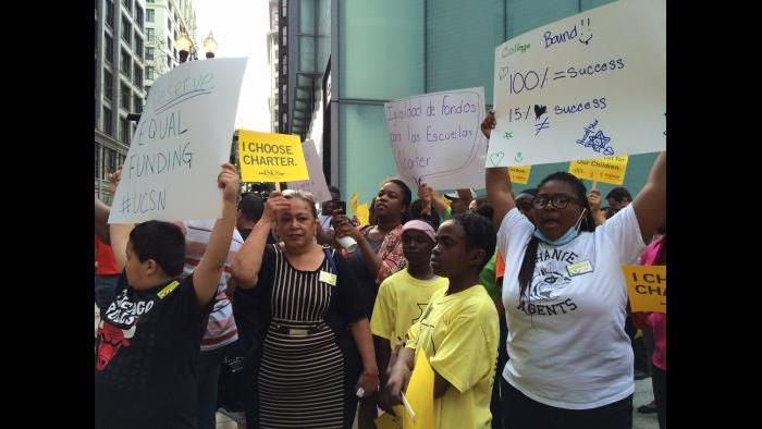 Dueling rallies outside CPS district headquarters in the Loop.