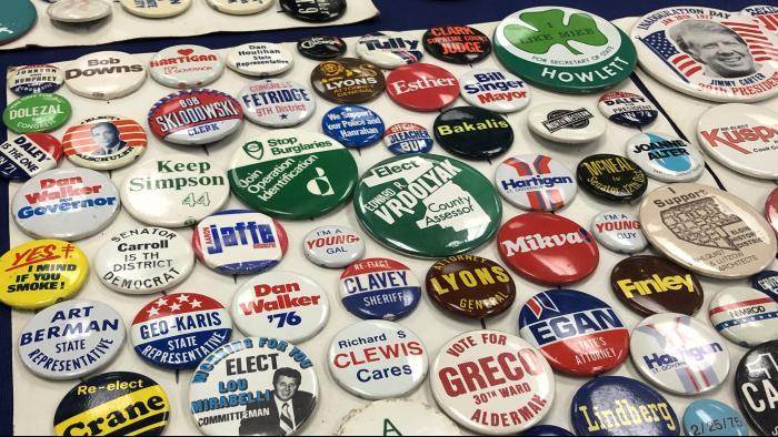 A collection of political buttons at Northeastern Illinois University. (Jay Shefsky / Chicago Tonight)