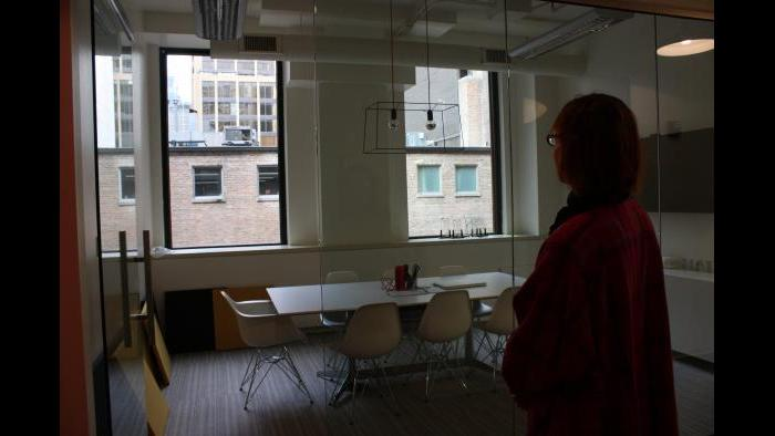New Art Examiner managing editor Annie Markovich at the publication's former office space at 230 E. Ohio St. (Chloe Riley)