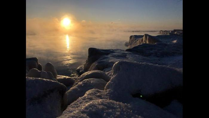"""An icy Lake Michigan on Wednesday, Jan. 30. """"I couldn't resist an early morning walk,"""" said Chicago Tonight's Jay Shefsky. (Jay Shefsky / Chicago Tonight)"""