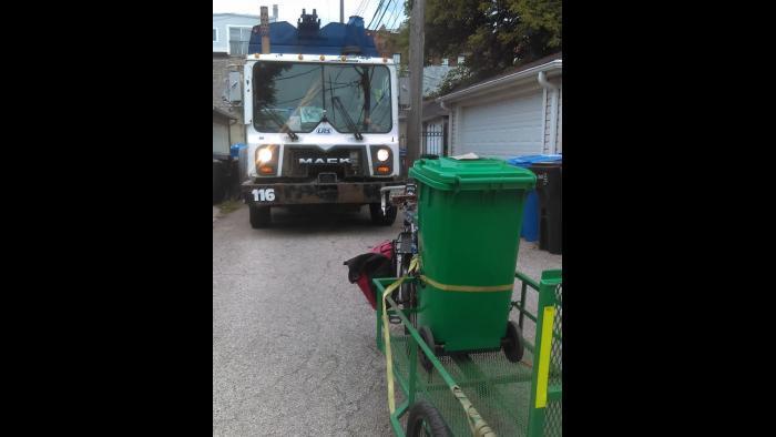 Scheffel vs. a garbage truck. (Courtesy Jonathan Scheffel)