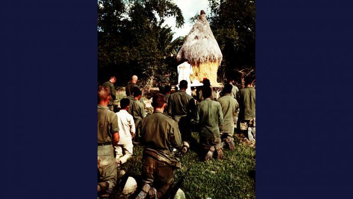 Praise the Lord, 1966. A Catholic chaplain conducts Mass for members of the U.S. Army 101st Airborne Brigade near Tuy Hòa. Photo by Specialist 5 Robert C. Lafoon, U.S. Army.
