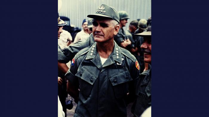 Sawadee, 1967. General William C. Westmoreland, Commander of United States Military Assistance Command in Vietnam, attends ceremonies welcoming the Royal Thailand Volunteers. Photo by Specialist 5 Robert C. Lafoon, U.S. Army.