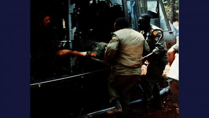 Dustoff, 1966. An executive officer with the U.S. Army 25th Infantry Division is evacuated aboard a 'DUSTOFF' Huey UH-1 air ambulance after receiving a leg wound in a firefight near Pleiku. Photo by Specialist 5 Robert C. Lafoon, U.S. Army.