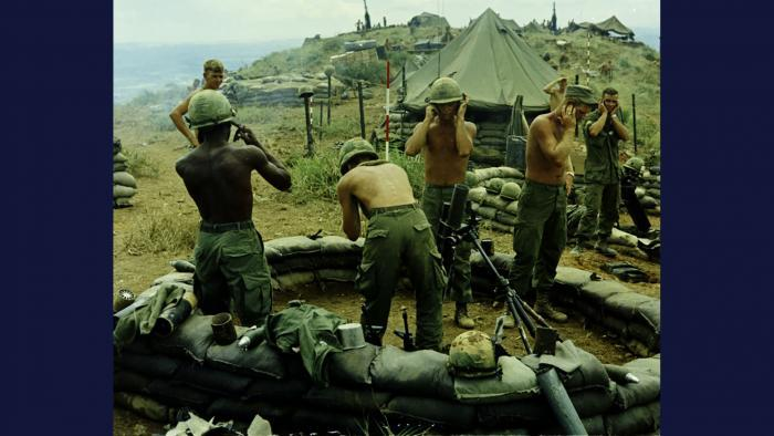 Fire for Effect, 1967. Members of the U.S. Army 101st Airborne Brigade fire 81 mm mortar rounds at enemy targets near Tam Kỳ. Photo by Specialist 5 Robert C. Lafoon, U.S. Army.