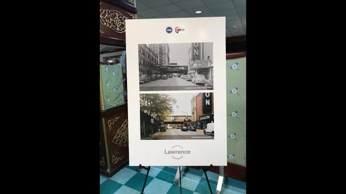 CTA historical photos show now-and-then versions of the Lawrence stop. (Nick Blumberg / WTTW News)