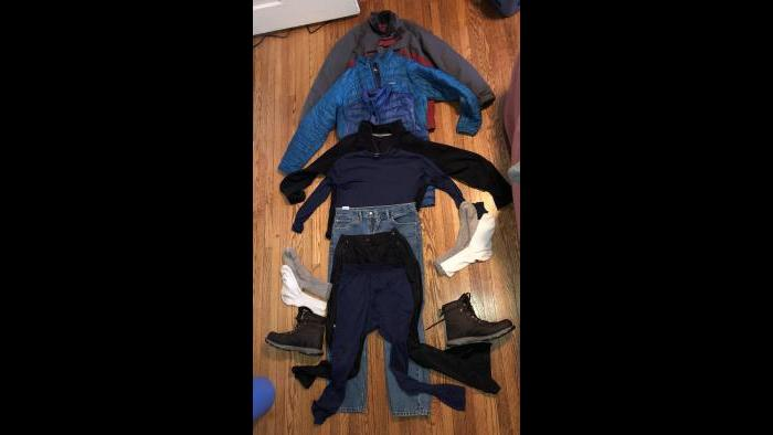Here are all the layers Jay Shefsky wore for his Wednesday, Jan. 30 walk outdoors. (Jay Shefsky / Chicago Tonight)