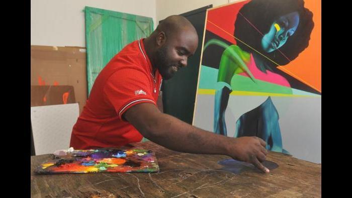 Max Sansing painting is in his Bridgeport Art Center studio.(Courtesy of Mieke Zuiderweg / Gallery19)