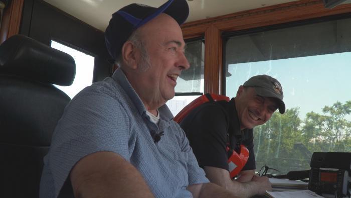 Jay Shefsky in the pilot house with Captain Larry Van Dusen.