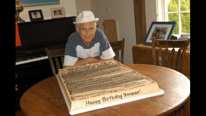 Norman Lear with birthday cake (Courtesy of Norman Lear)