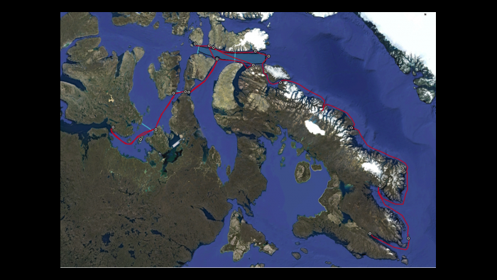 Map of the Northwest Passage Project with the expedition route marked in red (Miquel Gonzalez-Meler / UIC)