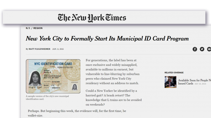 New York City's municipal ID program gives cardholders discounted visits to cultural institutions, sports merchandise and local retailers. (Credit: NYTimes.com)