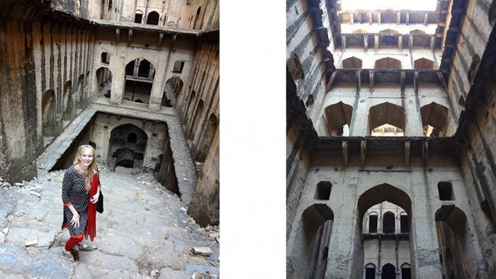 Victoria Lautman, left, explores Indian stepwells. (Courtesy of Victoria Lautman)