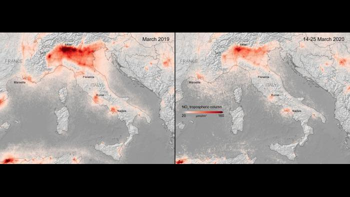 Side-by-side comparisons show a decrease in nitrogen dioxide over Italy. (Credit: European Space Agency)
