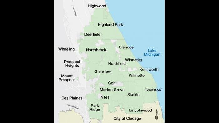 A map of North Shore communities.