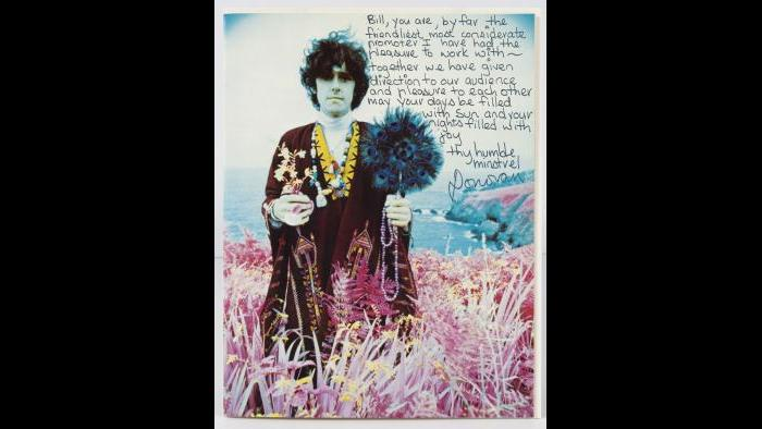 Note from Donovan to Bill Graham. San Francisco, November 1967 (Photo by Robert Wedemeyer / Collection of David and Alex Graham)