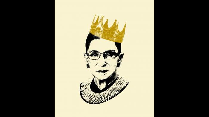 """""""Notorious RBG"""" book cover illustration by Adam Johnson. Courtesy of HarperCollins. Photographs: Crown © by Hurst Photo/Shutterstock; Ruth Bader Ginsburg, Collection of the Supreme Court of the United States."""
