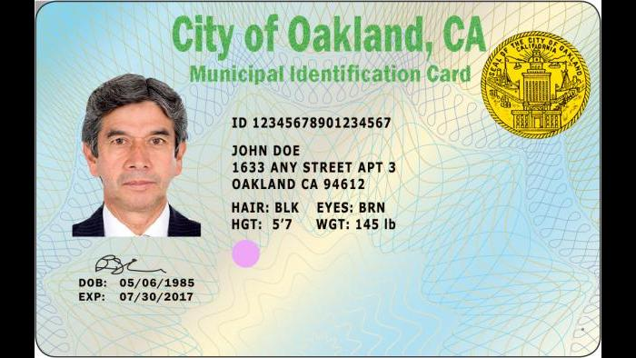 The municipal ID for Oakland, California. (Credit: SF Global LLC)