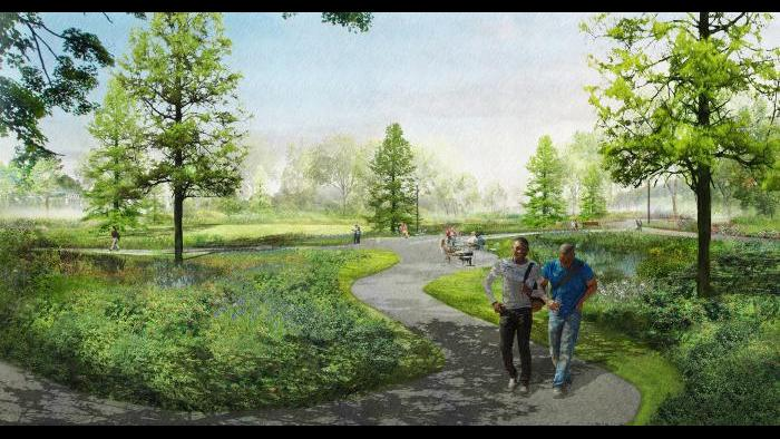 A rendering of walking and bike paths on the Obama Presidential Center campus (Courtesy of Obama Foundation)