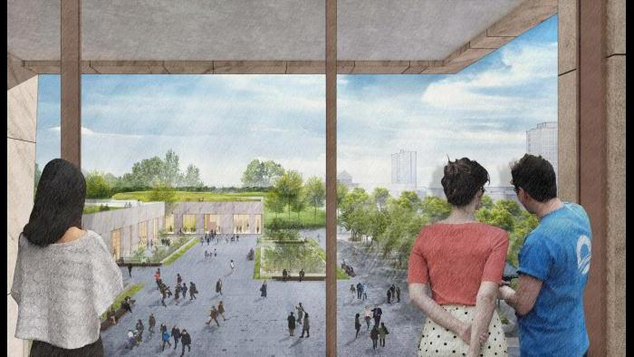 A rendering of the view of the plaza from the museum building. (Courtesy Obama Foundation)