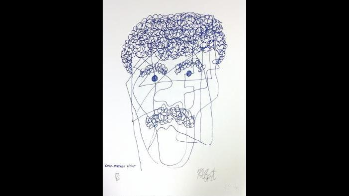 "Kurt Vonnegut, ""One Liner 4, Self Portrait 5-7-05"""
