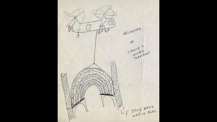 Nickel devised a bizarre plan to remove the proscenium arch of the Garrick by helicopter or trailer. (Courtesy the Richard Nickel Archive/ Ryerson and Burnham Archives/ The Art Institute of Chicago)