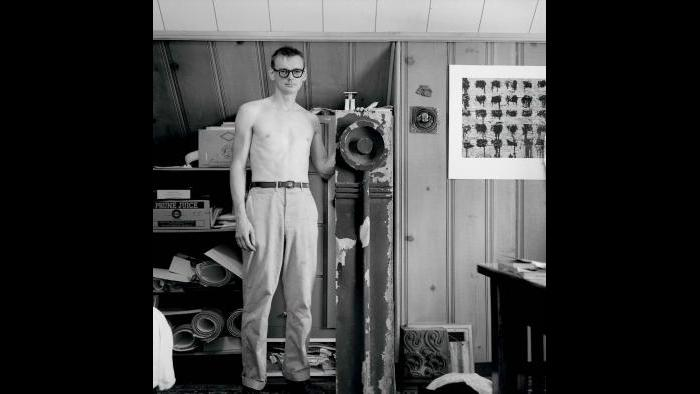 Nickel, pictured in his Park Ridge bedroom, was determined to find a place to preserve his salvaged material. (Courtesy the Richard Nickel Archive/ Ryerson and Burnham Archives/ The Art Institute of Chicago)