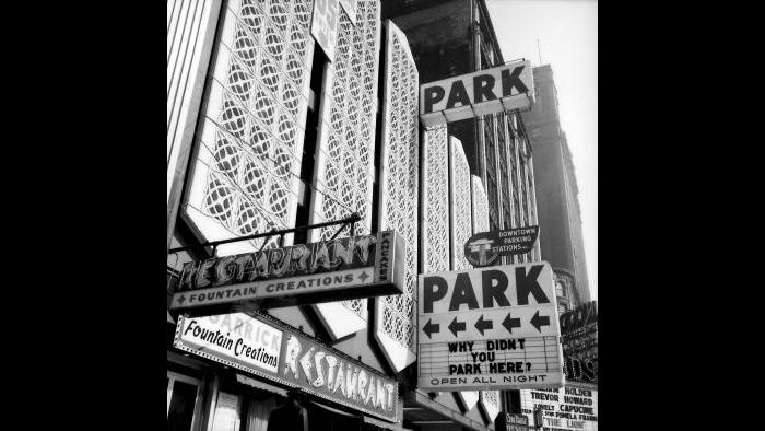 A small section of the Garrick's terra-cotta ornament was recast in concrete 233 times to create the facade of the parking garage on the site of the old theater. (Courtesy the Richard Nickel Archive/ Ryerson and Burnham Archives/ The Art Institute of Chicago)