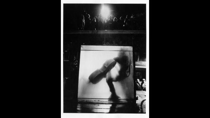 Peter Moore. Charlotte Moorman performs Jim McWilliams's The Intravenous Feeding of Charlotte Moorman, 9th Annual New York Avant Garde Festival, South Street Seaport, October 28, 1972. (Photograph © Barbara Moore/Licensed by VAGA, NY.)