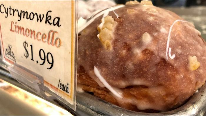 Paczki made with lemon liqueur are a new addition to Kolatek's offerings this year. (Patty Wetli / WTTW)