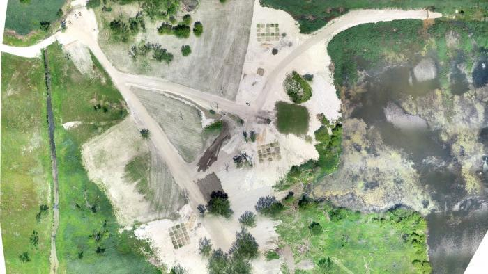 An aerial view of the clay cap area, with three groupings of soil test beds. (Courtesy of Chicago Park District)
