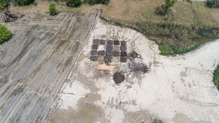 An aerial view of one of the groupings of soil test beds at Big Marsh Park. (Courtesy of Chicago Park District)