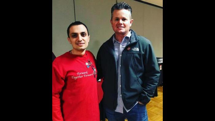 Patrick Korellis and the police officer who found him after the Feb. 14, 2008 shooting. (Courtesy of Patrick Korellis)