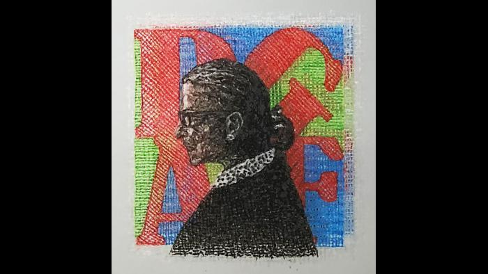 "Ari Richter, ""RBG Tattoo II,"" 2018. Pigmented human skin on glass. Courtesy of the artist."