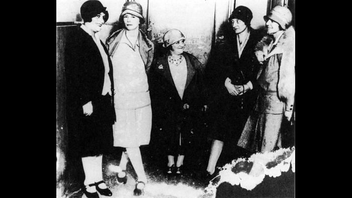 "The New Jersey ""Radium Girls."" From left: Quinta McDonald, Edna Husmman, Albina Larice, Katherine Schaub and Grace Fryer on June 4, 1928. (CHR, National Archives, Chicago)"